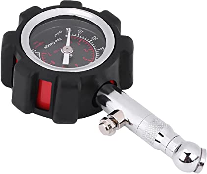 Tire Pressure Gauge Keenso Professional Heavy Duty Manual Hand 0-100PSI Tire Air Pressure Gauge Meter Tester Easy Read Dial with Rubber Cap for Car Truck Motorcycle Bike