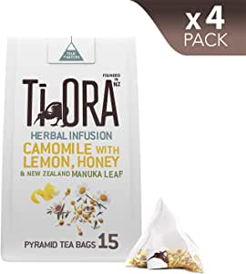 Ti Ora Herbal Infusion - Camomile with Lemon, Honey & New Zealand Manuka Leaf - 4 Packs of 15 Pyramid Tea Bags (60 Serves), 4 x 19.5 g
