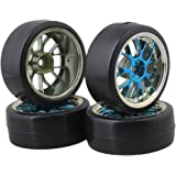 BQLZR Blue Plastic Y Shape Hub Wheel Rim with Smooth Tires for RC 1:10 On-Road Racing Car & Drift Car Pack of 4