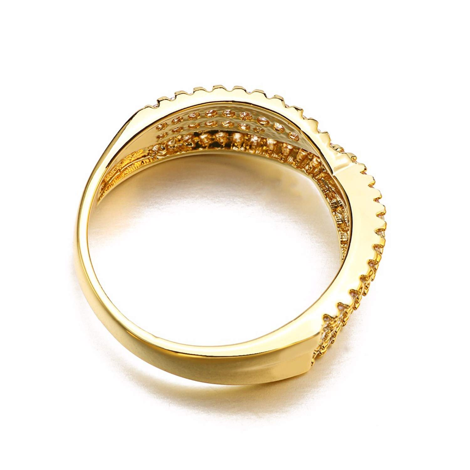 salmoph cadia Jewelry Romantic Rings Women Rose Gold//Gold//Silver Brass Finger Ring,7,White Yellow,Izable