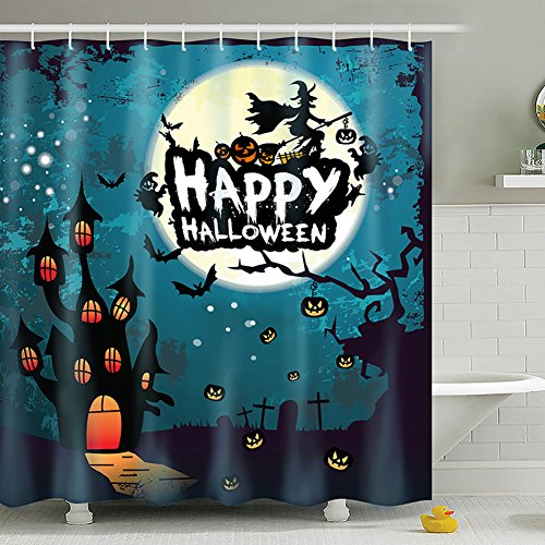 Meelino Halloween Scary Ghost Pumpkin Witch Waterproof Antibacterial Polyester Shower Curtains with Hooks Bathroom Home Decorative Night Theme (72''×72'', Blue) -