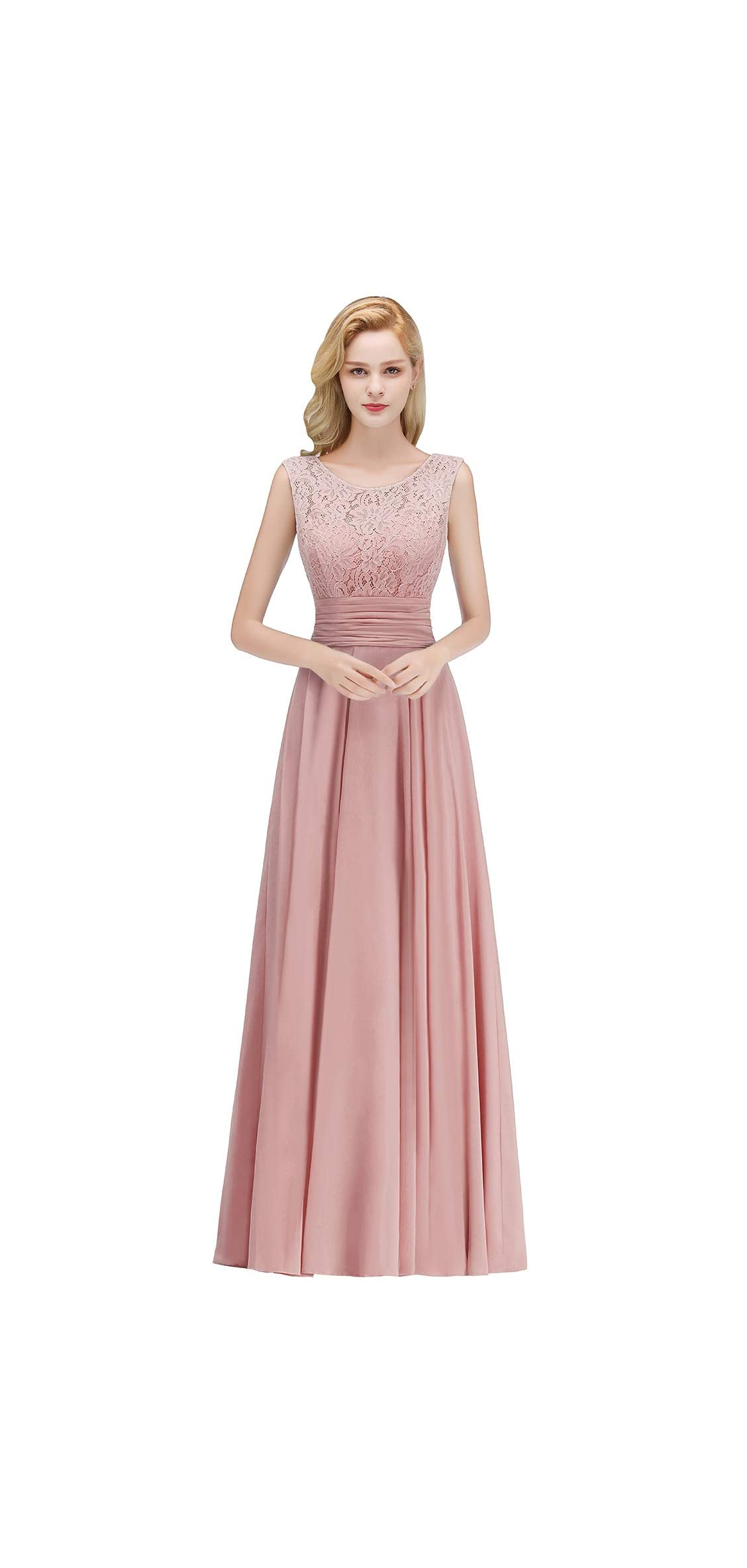 Babyonline Women Lace Chiffon Bridesmaid Dress Long Formal Gown