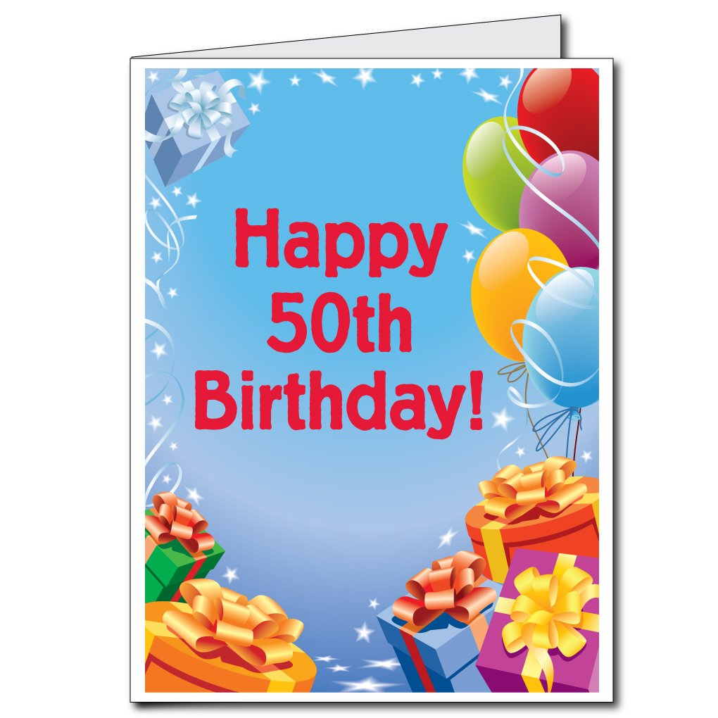 Amazon 2x3 Giant Presents And Balloons 50th Birthday Card W