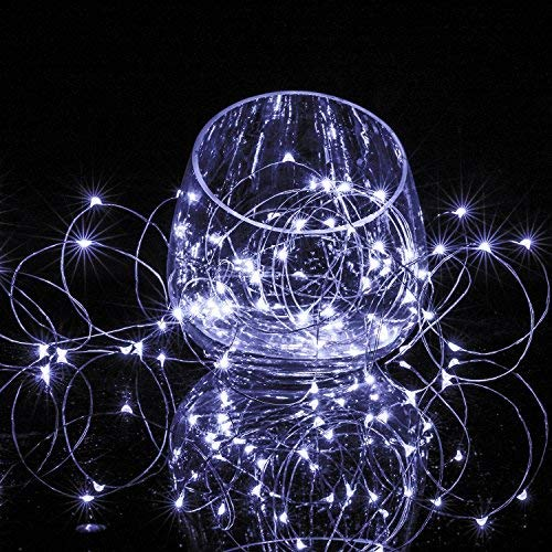 BXROIU 2 x 20 LEDs Fairy String Lights Battery Operated 2 Program,6.5ft Silver Wire String Lights for Bedroom Christmas Parties Wedding Decorations (Cool White)