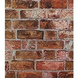 York Wallcoverings Modern Rustic Brick Wallpaper 8 X 10 Memo Sample Copper Red/Black/Brown/Cement Gray