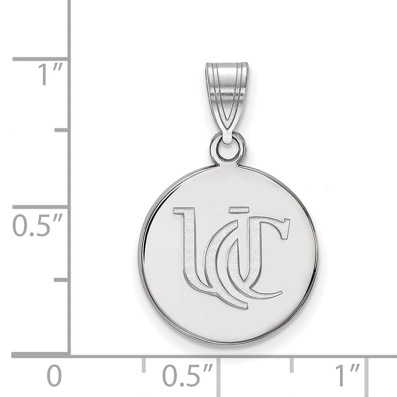 925 Sterling Silver Rhodium-plated Laser-cut University of Cincinnati Medium Pendant