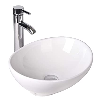 882ccc4d4f2 Image Unavailable. Image not available for. Color  Oval Bathroom Vessel Sink  Vanity Basin White Porcelain Ceramic Bowl with Faucet   Pop Up Drain