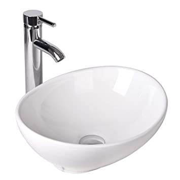 Oval Bathroom Vessel Sink Vanity Basin White Porcelain Ceramic Bowl