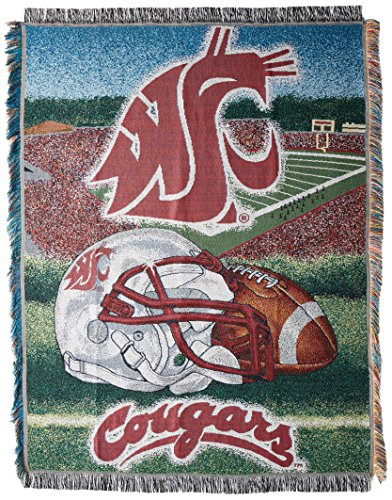 (The Northwest Company Officially Licensed NCAA Washington State Cougars Home Field Advantage Woven Tapestry Throw Blanket, 48