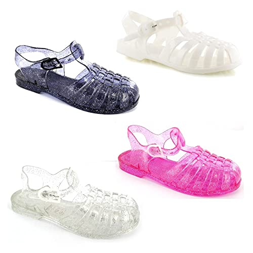 0b9ffc04b6adaf Chockers Shoes Kids Baby Babies Childrens Toddler Infant Girls Cute Retro  Jelly Summer Beach Holiday White Patent Pink Clear Black Glitter Shoe  Sandals  ...