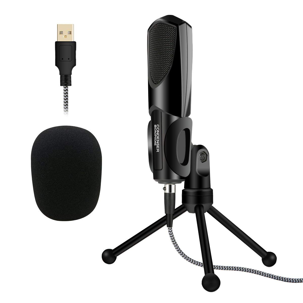 USB Computer Microphone, Plug &Play Home Studio Microphone, Condenser Microphone with Tripod Stand for Skype, Recordings for YouTube, Google Voice Search, Games, Podcasting Karaoke (Windows/Mac)