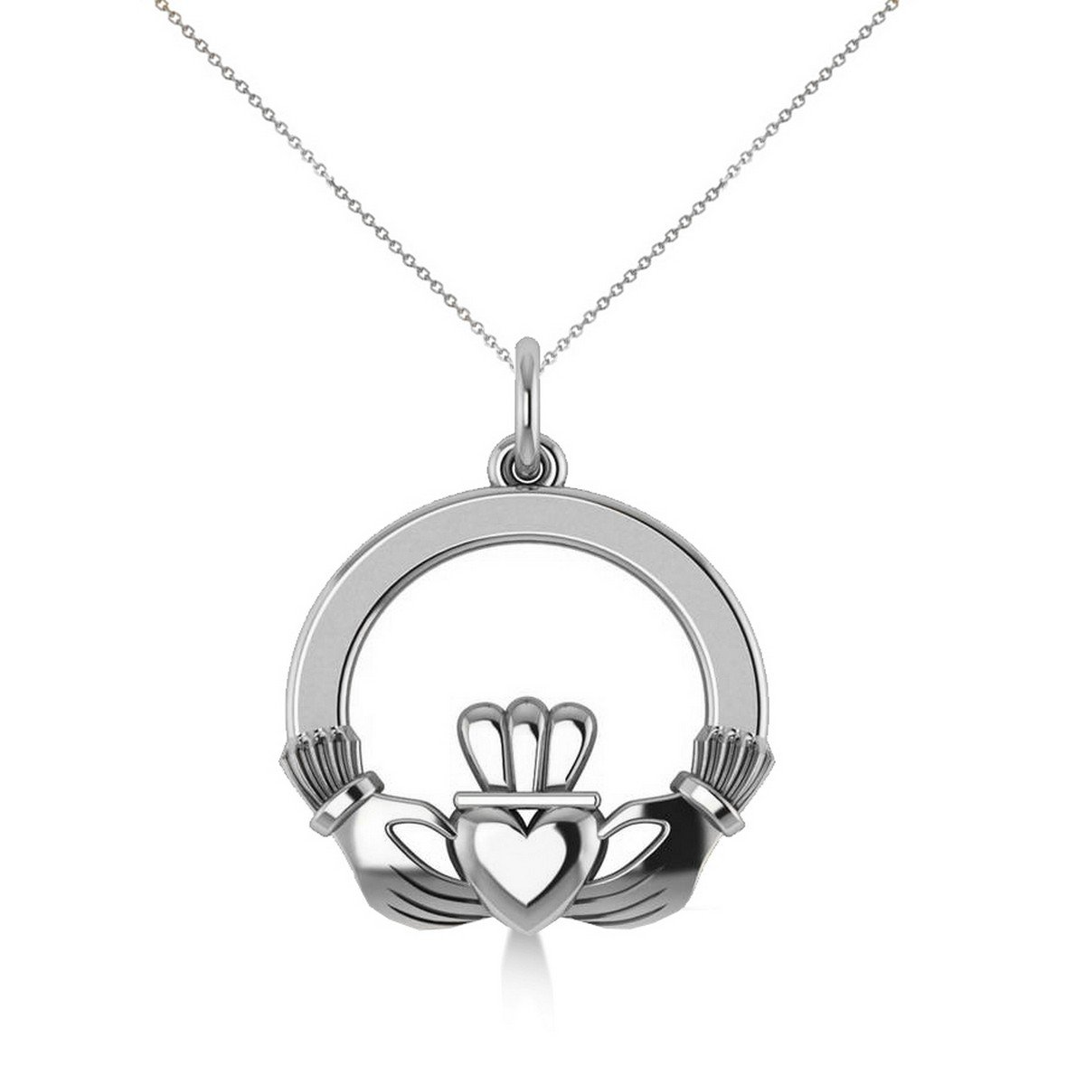 14k White Gold Claddagh Pendant