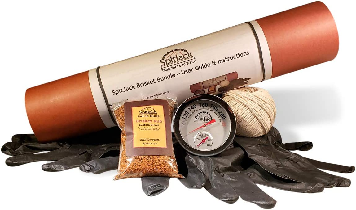 SpitJack BBQ Brisket Toolkit. Butcher Paper, Oven and Meat Thermometer, Cooking Twine, BBQ Brisket Rub, Black Nitrile Prep Gloves