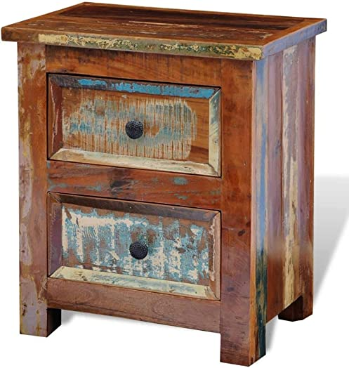 vidaXL Nightstand w/ 2 Drawers Solid Reclaimed Wood Side End Storage Stand