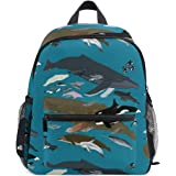 キッズ リュック 私は鯨類に感謝しています柄 リュックサック 子ども バッグ 遠足 幼稚園 保育園 通学用 バックパック デイパック 軽量 かわいい