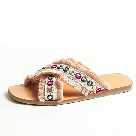 DYY Zapatillas Rojas netas, Zapatos Planos de Moda, Sandalias de Tejido Cruzado de Verano
