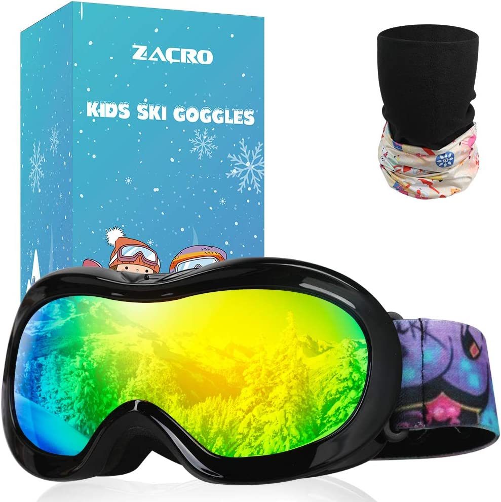 Zacro Gafas Esquí Snowboard para Niño Joven, con Máscara Esquí y Bolsa Portable,OTG 100% UV400 Protección Gafas de Esquí,Antideslizante,Anti-Niebla y Anti-Nieve