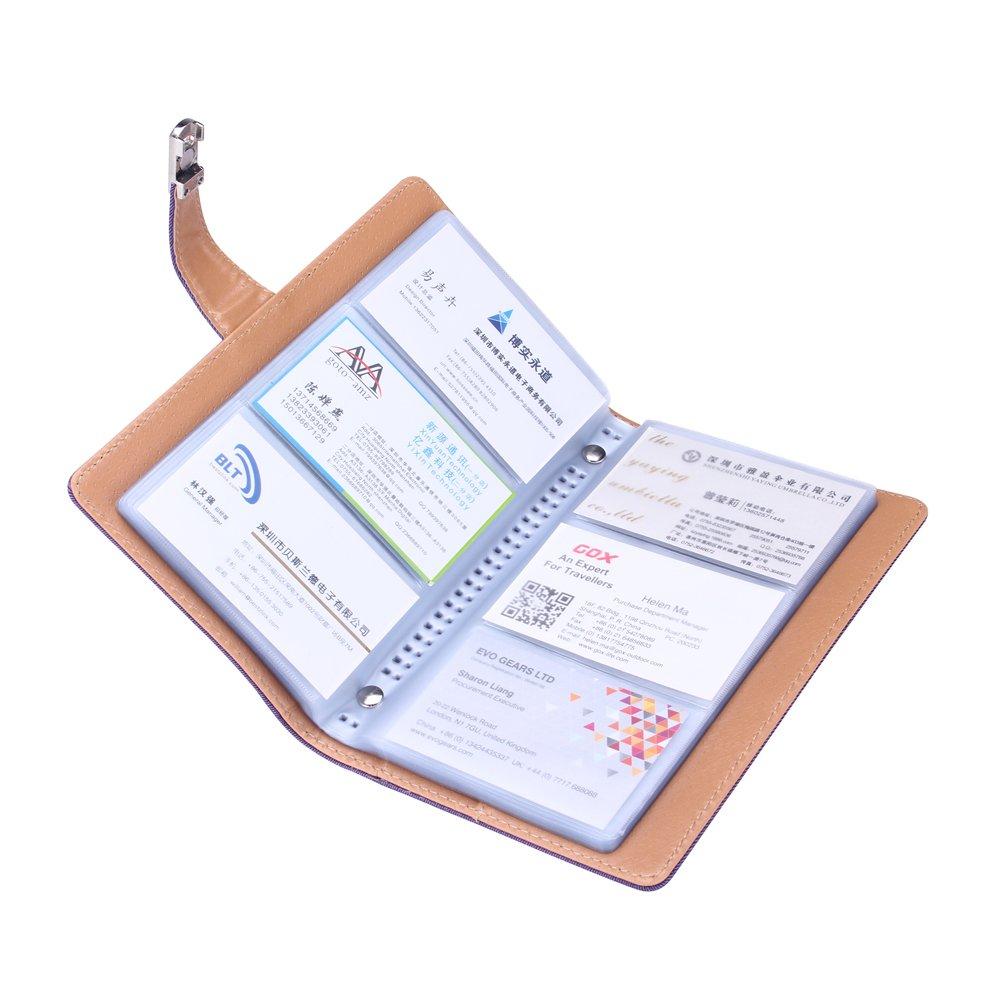 240-Gris BLUBOON Agenda de Tarjetas Porta-Tarjetas Personales con Hebilla Met/álica para Empresarios