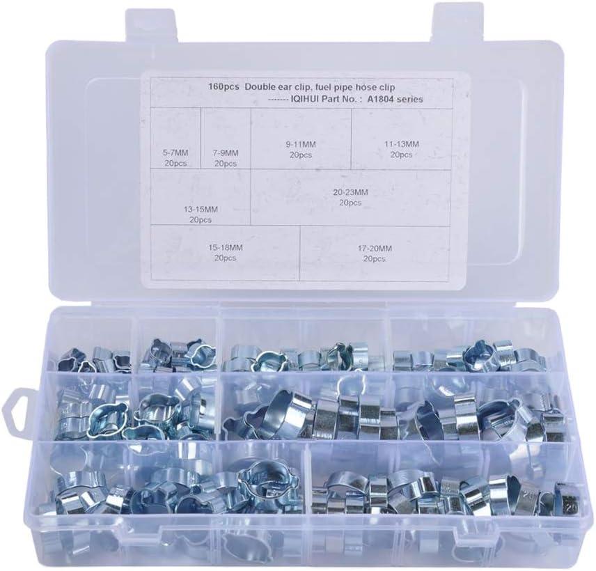 160Pcs Doppelohr Schlauchschellen Sortiment Kit Schlauchklemmen Einzelohrschlauchschellen