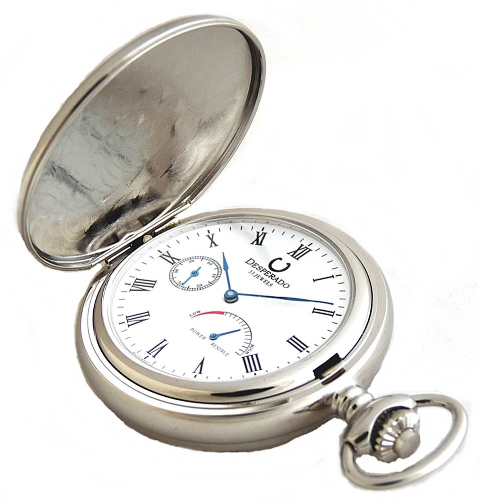 Desperado Automatic Mechanical Pocket Watch with Power Reserve Indicator, 33 Jewels, 530W by Desperado