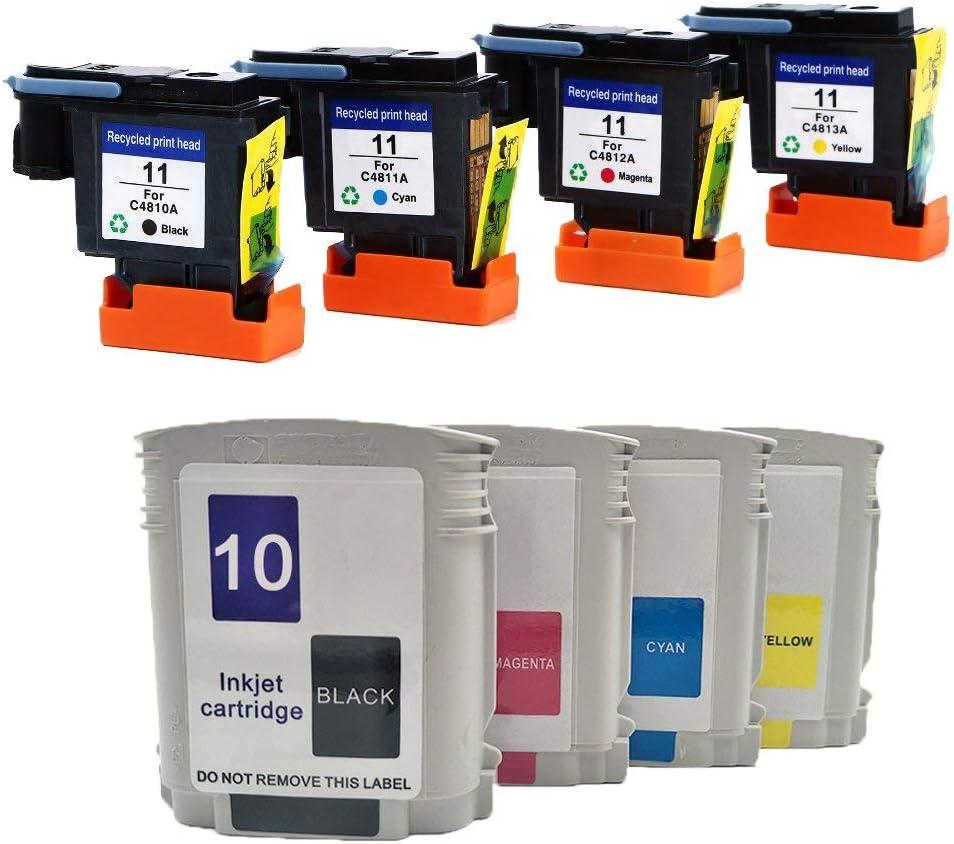 Teng® - Cabezal de impresión y Cartucho de Tinta HP 11 C4810A C4811A C4812A C4813A Compatible con HP Business Inkjet 2200 2250 2280 2600 2800 HP Designjet 110 NR 10PS 20PS 50PS 500 800: Amazon.es: Oficina y papelería