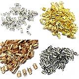 Fenteer 400pcs Necklace Tips Metal Clasps Hooks Fold Over Return Crimp Cord End Bead
