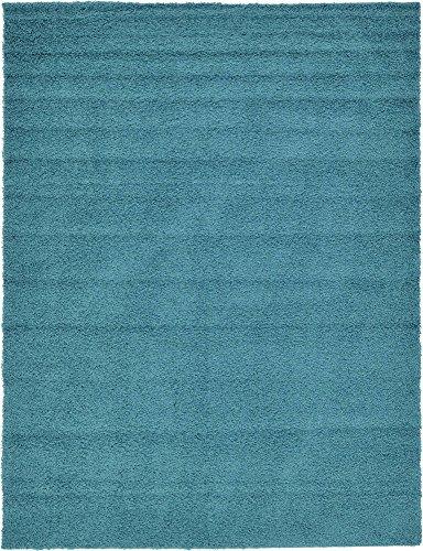 (Unique Loom Solo Solid Shag Collection Modern Plush Deep Aqua Blue Area Rug (9' 0 x 12' 0))