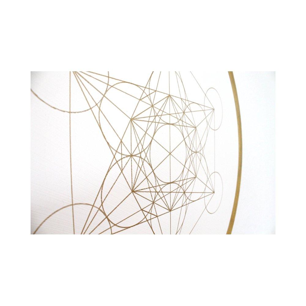 Wandbild Metatrons Würfel in Gold \