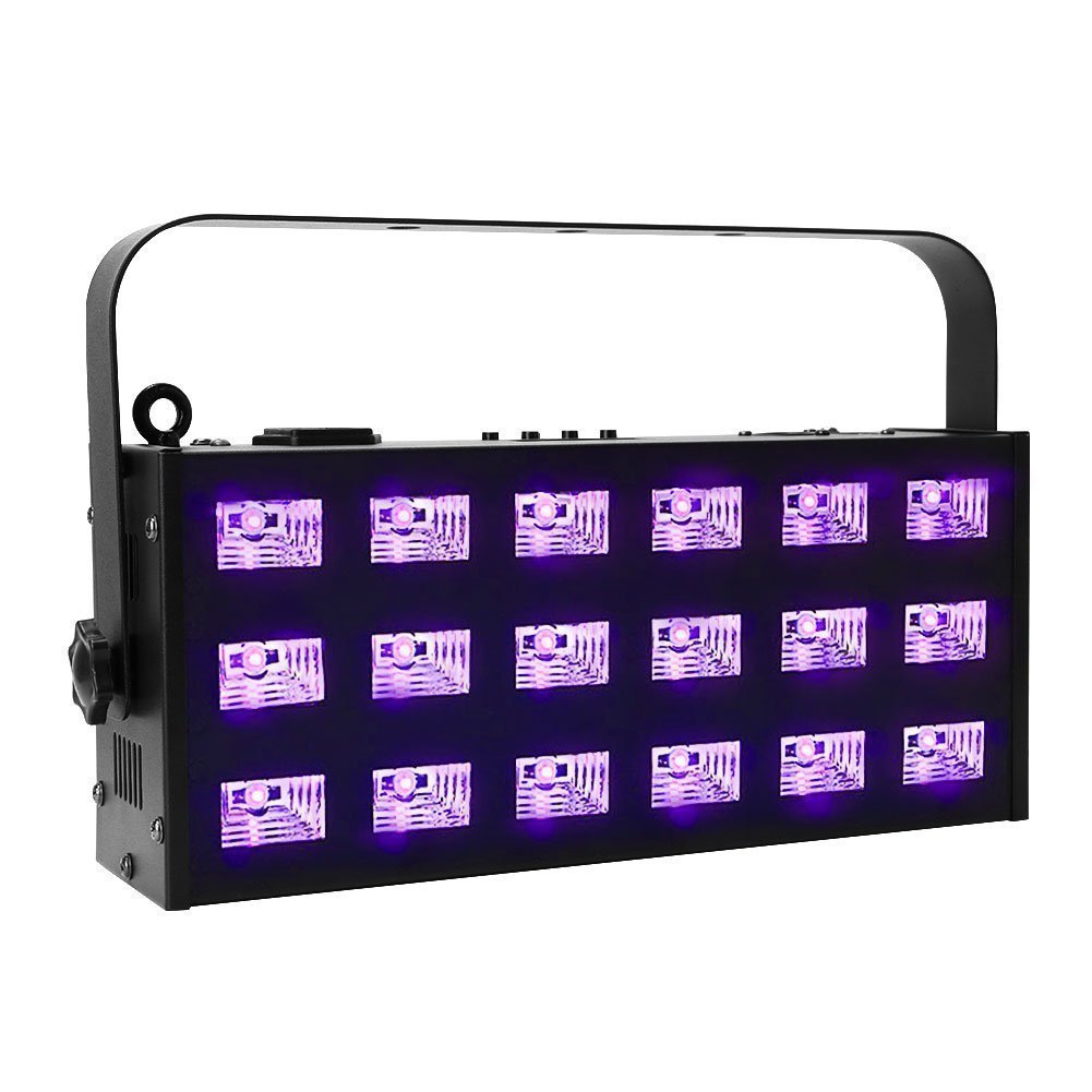 Best Rated In Stage Lighting Equipment Accessories Helpful Element Night Vision Mount Xlr As Well Master Slave Switch Circuit Oppsk Blacklight 18led X 3 Watt 7ch Dmx512 Metal Strobe Uv Light Product Image