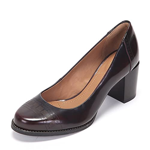 0bb49f818c48 Clarks Women s Tarah Sofia Burgundy Brown Leather Pumps - 6 UK India (39.5  EU