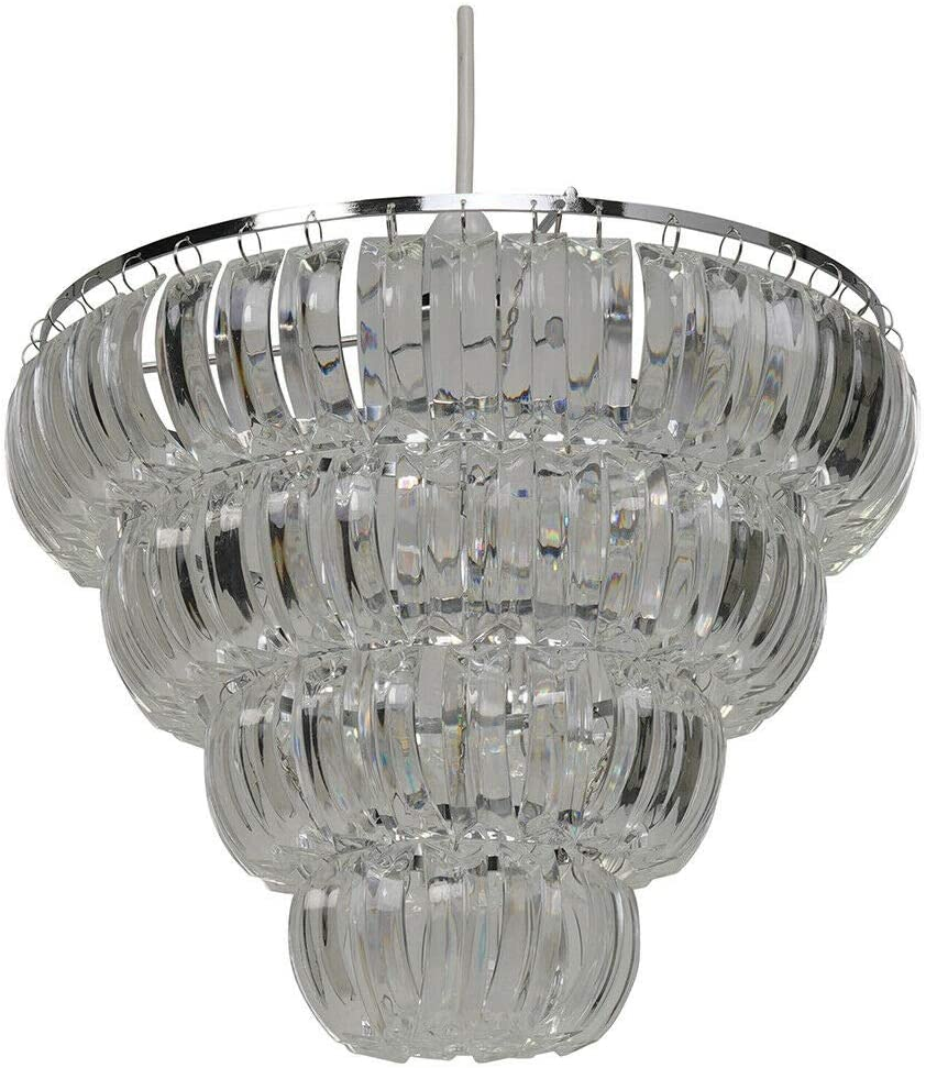 K Living Echelon Easy Fit 4 Tier Chrome And Clear Curved Beaded Chandelier Pendant Light Shade Amazon Co Uk Lighting