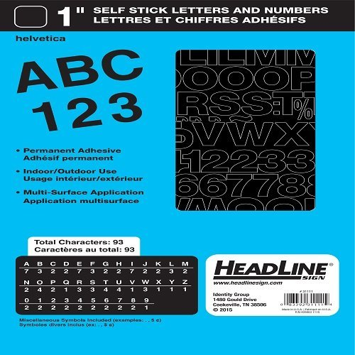 Headline Sign 31111 Stick-On Vinyl Letters and Numbers, Black, 1-Inch ()