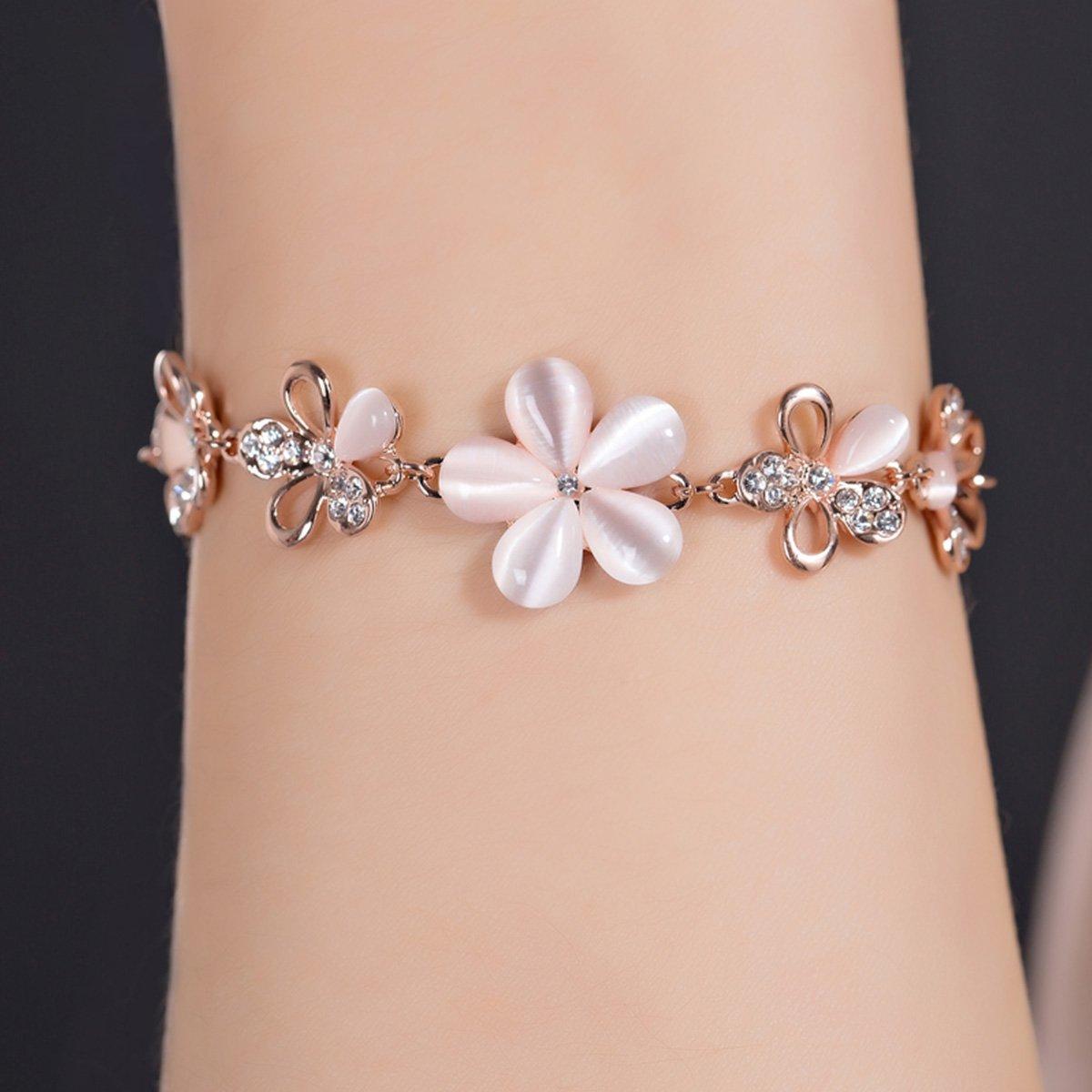 df7dd25f01ac87 Amazon | Merdia サクラブレスレットレディース フラワー 桜の花 ピンク腕輪 バングル 花びら ギフト 長さ調整可 | バングル 通販