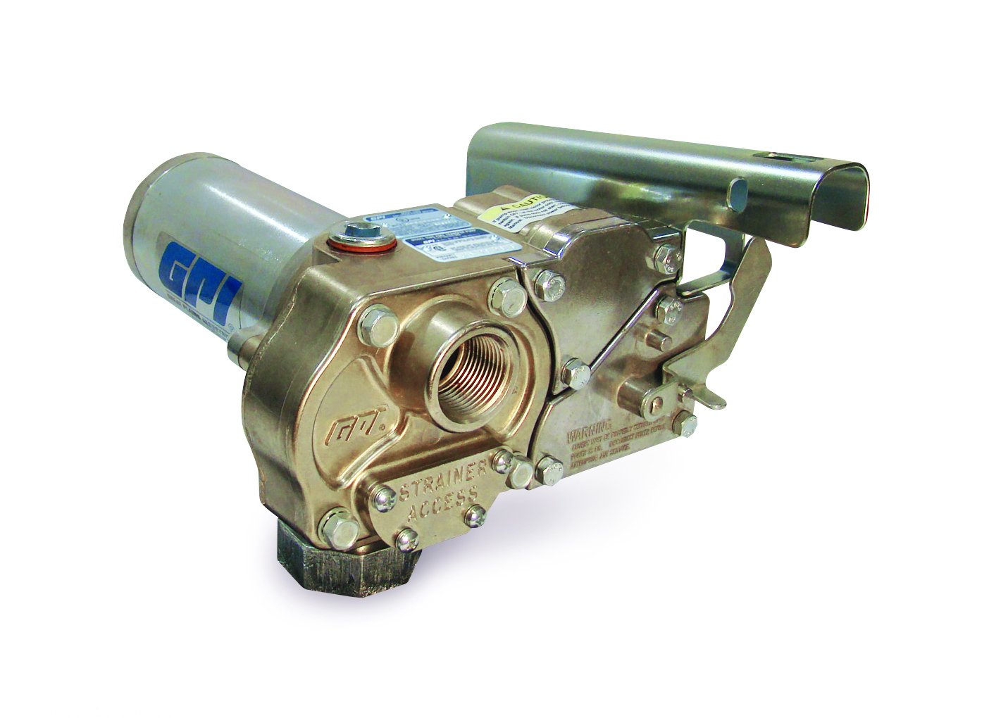 GPI 110700-01, M-150S-Methanol-PO Aluminum Fuel Transfer Pump, 15 GPM, 12-VDC, Spin Collar, Nickel Plated Housing, Accessories Sold Separately by GPI (Image #1)
