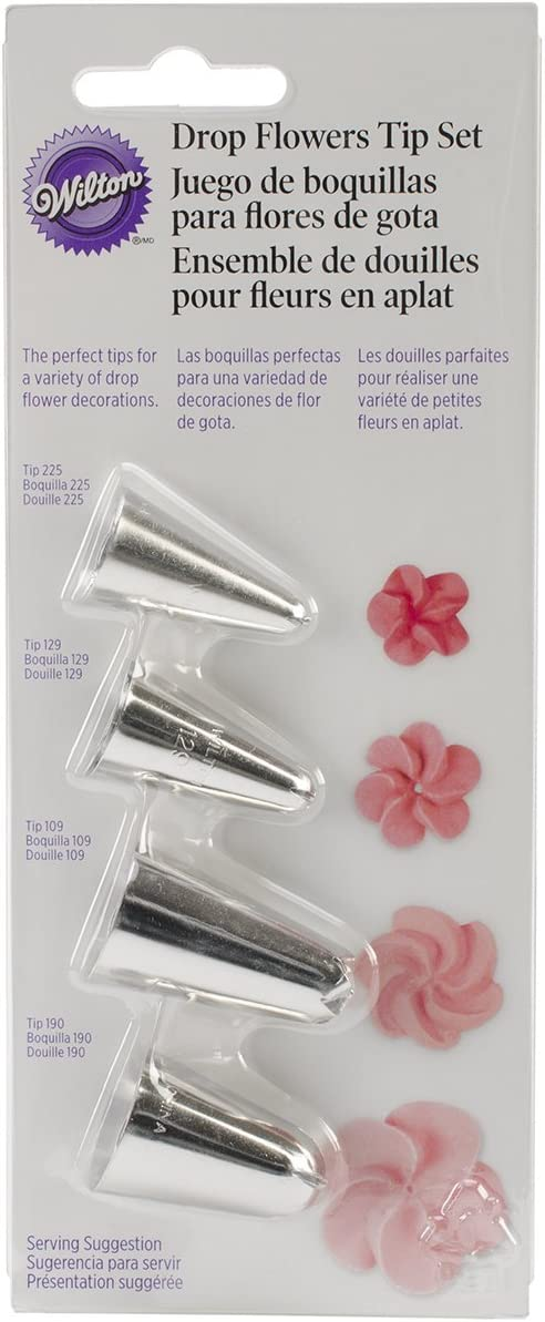 مجموعة أنابيب تزيين على شكل زهرة من ويلتون، مجموعة من 4 قطع