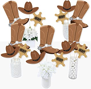 product image for Big Dot of Happiness Western Hoedown - Wild West Cowboy Party Centerpiece Sticks - Table Toppers - Set of 15
