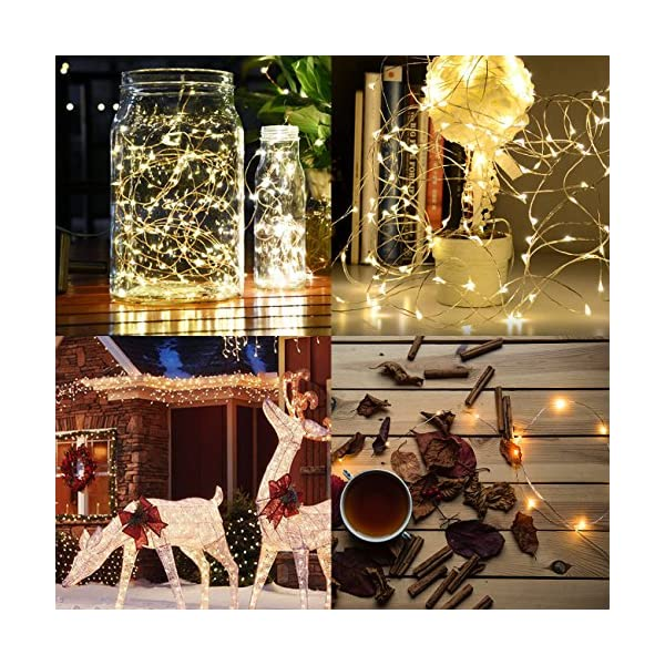Kolpop Stringa Luci LED a Batteria [4 Pezzi], Catena Luminosa 5m 50 LED con Filo Rame Ghirlanda Luminosa Lucine LED Decorative per Camere da Letto Giardino Casa Feste Natale Matrimonio (Bianco Caldo) 5 spesavip