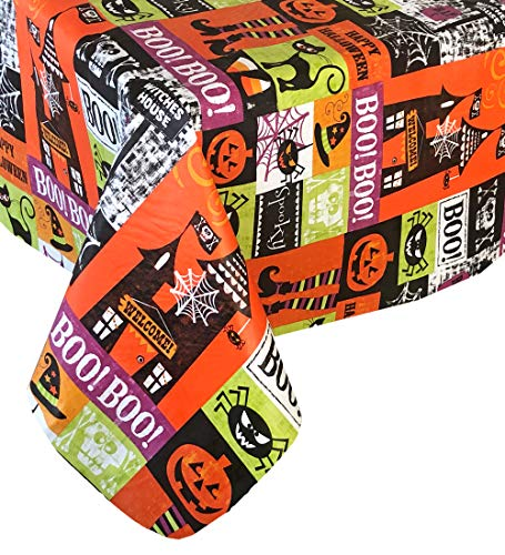 Happy Halloween Black Witch (Newbridge Spooky Witches House Halloween Vinyl Flannel Backed Tablecloth - Jack O'Lantern, Black Cat, Spider Web Happy Halloween Tablecloth, Easy Care Wipe Clean, 70