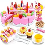 HenMerry DIY Cutting Birthday Party Cake Pretend Play Kitchen Food Toys Set Girls Gift for Children 75PCS (Pink)
