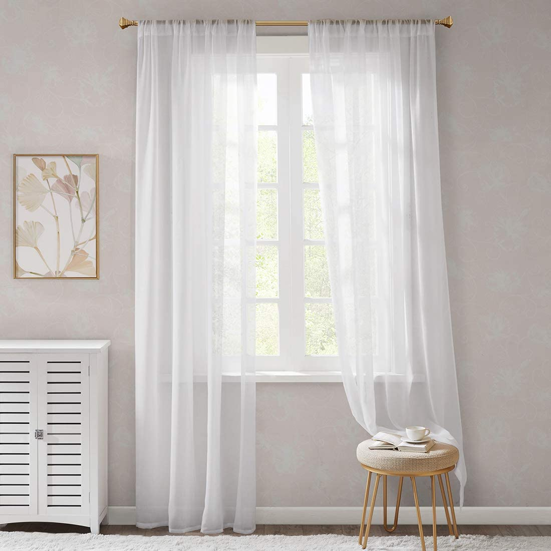 Scm Organza White Curtains Bedroom Curtain 2 Panels Classical Solid Voile Sheer High Thread With Rod Pocket White 56 W X 97 L Amazon Co Uk Kitchen Home