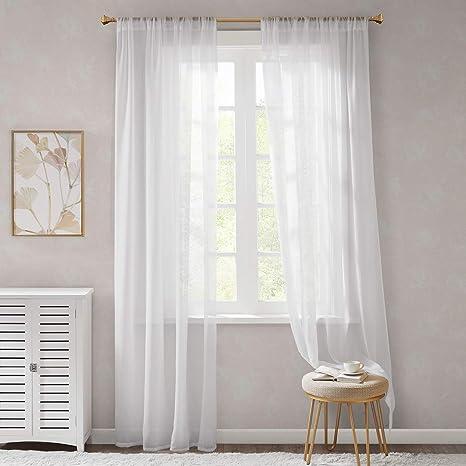 Gardinen Schals Weiß Leicht & Soft mit Stangendurchzug Voile Vorhänge Schlafzimmer Transparent Vorhang für kleine Fenster Org