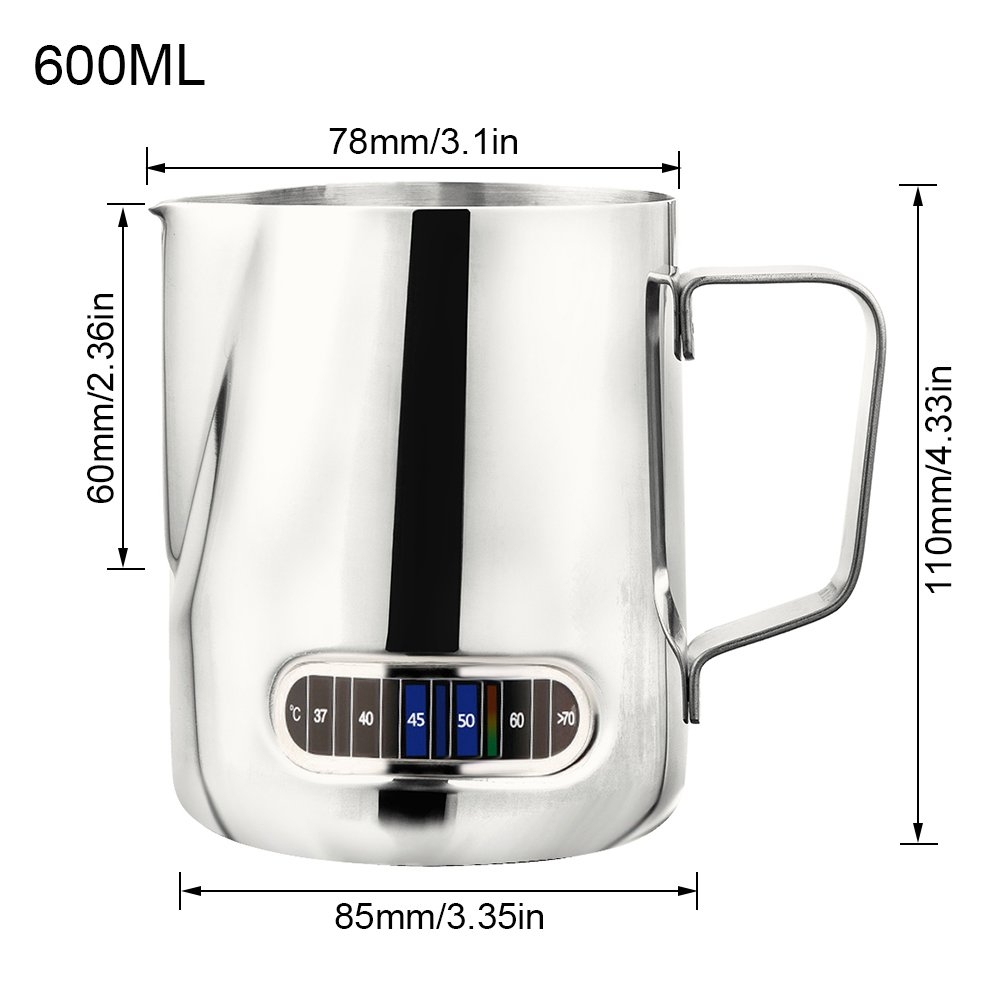 Cream Milk Frothers Latte Art ,Frothing Cup 600 ml Happyyous Milk Frothing Pitcher Stainless Steel 20 oz Smoothies Water Perfect for Espresso Machines Juices
