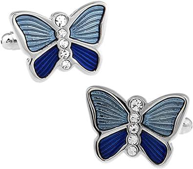 Daesar Gemelos Camisa de Hombre Gemelos Camisa Gemelos Cobre Mariposa Circonita Blanca Gemelos Camisa Hombre Azul: Amazon.es: Joyería