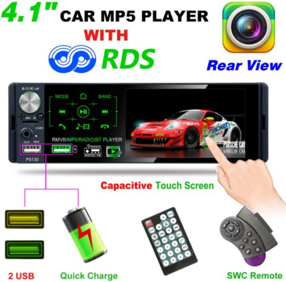 Almencla 1 Din Car Radio 4.1inch Touch Screen Dash MP5 Player Bluetooth USB Car Digital Multimedia Player Rear View Camera with Remote Control