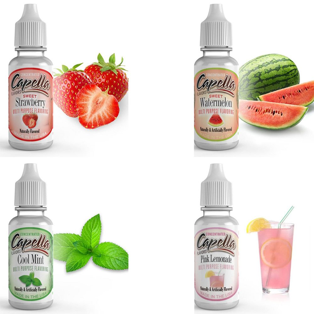 Capella Flavor Drops, 4 Pack Assortment Bundle - Sweet Strawberry, Sweet Watermelon, Pink Lemonade, Cool Mint