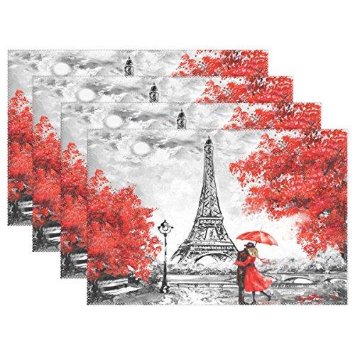 WOZO Romantic Paris Eiffel Tower Placemat Table Mat, France Oil Painting 12