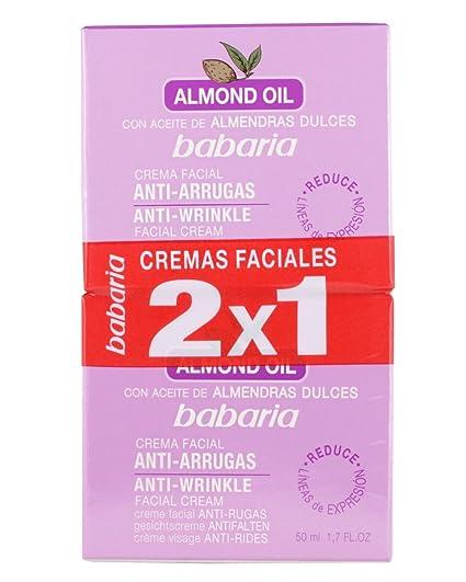 Babaria Aceite Almendras Dulces Crema Facial Antiarrugas Crema Antiarrugas - 2 Unidades