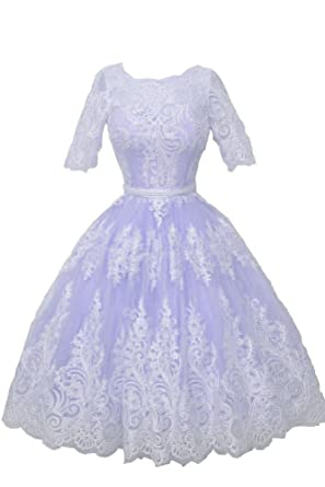 Carnivalprom Womens Homecoming Dress Lace Appliques Ball Wedding Party Prom Dress With Sleeves 6 Lavender