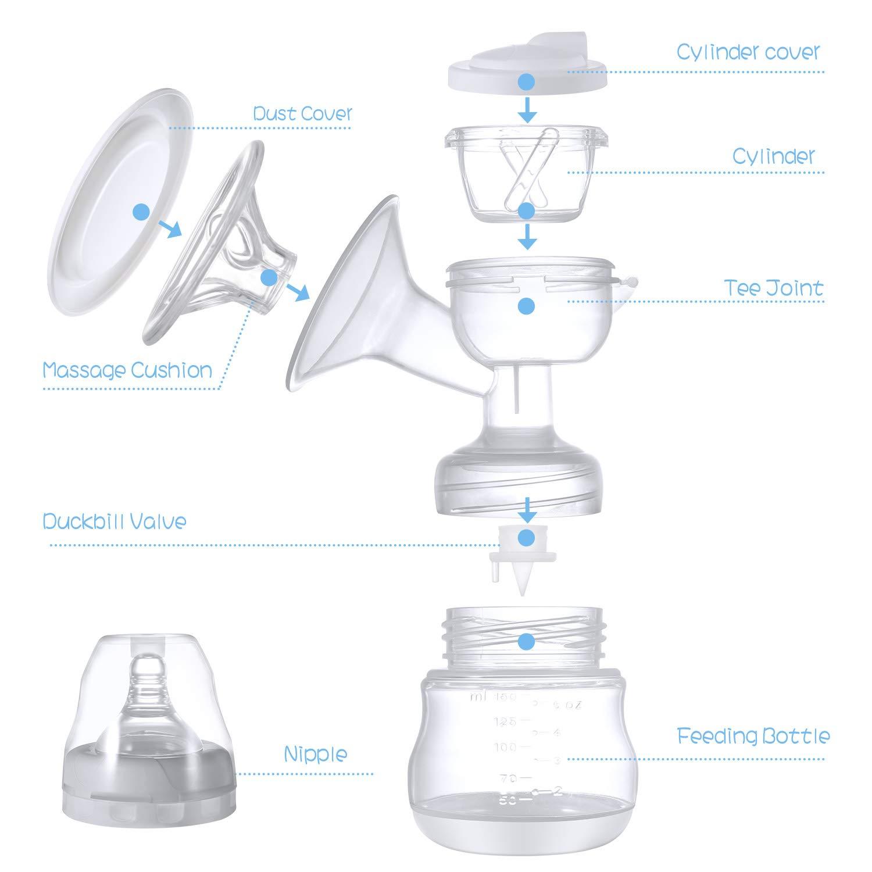 Blau Elektrische Milchpumpe Brustpumpe Schnuller aus Silikon mit Massage /& Absaugung Einzel Muttermilch Abpumpen inkl