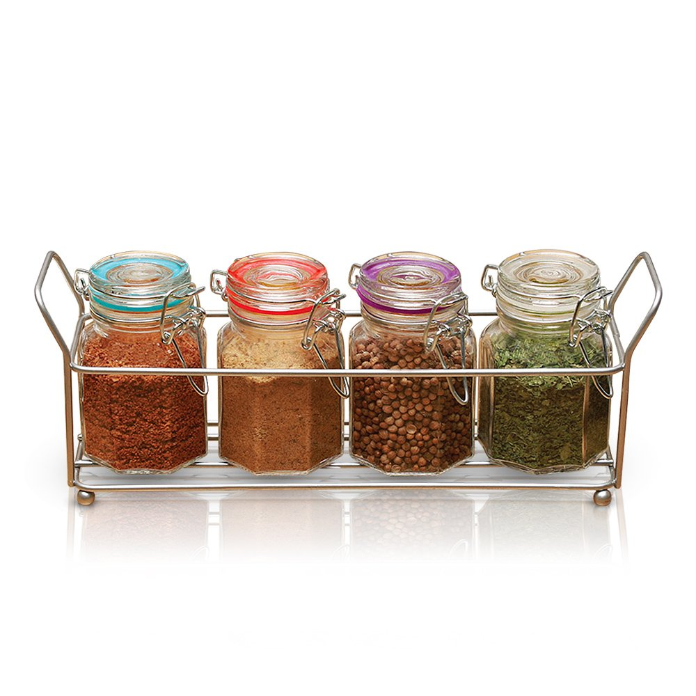Bail and Trigger Spice Jars, Set of 4 - Airtight Hermetic Lids, Clear Glass, Mini - Dishwasher Safe (6.25 Oz.) (Jars with Caddy)
